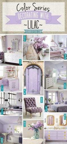 Color Series; Decorating with Lilac, Lavender, Purple home décor.   A Shade Of Teal