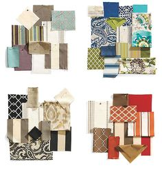 Bottom Left swatch for the living room including the ikat in sunbrella I want for the eaton couch @ ballard design.