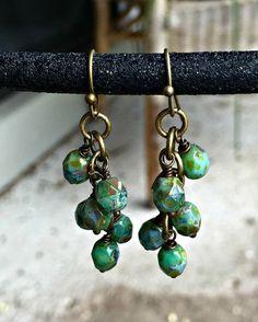 Czech Glass Picasso Cluster Earrings  by WishingFlowerJewelry