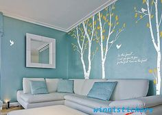 Like the colors  Vinyl Wall Decal Nature Design Tree Wall Decals Wall stickers Nursery wall decal wall art------3 Birch trees
