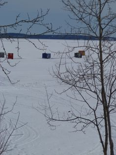 Ice fishing shacks, Haileybury Ontario, Canada