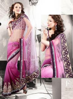 Pink Net Latest Fashion Saree 16063 With Unstitched Blouse