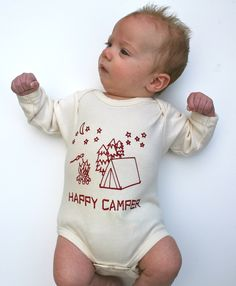 Happy Camper Organic Baby Bodysuit- Natural Long Sleeve Hand-printed with my original drawing- tent, moon, stars, s'mores 0 3 6 12 18 months. $24.00, via Etsy.