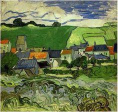 View of Auvers Vincent van Gogh Painting, Oil on Canvas Auvers-sur-Oise: May - June, 1890 #vangogh