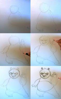 how to draw po kung fu panda