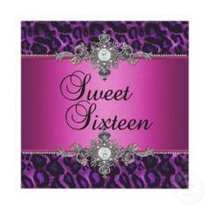 Sweet 16 Purple Pink Silver White invitation