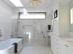 Zero threshhold showers look nice and allow better use of space.  I don't like the all white.  This tub is nice too.
