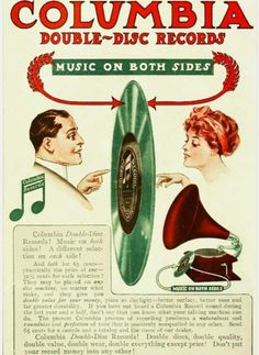 """Columbia Double-Disc Records vintage ad, """"Music On Both Sides!"""" Columbia Double-Disc Records vintage ad, Music On Both Sides! Old Advertisements, Retro Advertising, Retro Ads, Vintage Music, Vintage Ads, Vintage Posters, Retro Poster, Poster Ads, Record Players"""