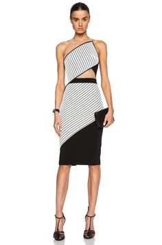 David Koma Net Inset Panel Pencil Dress in Black & White | FWRD