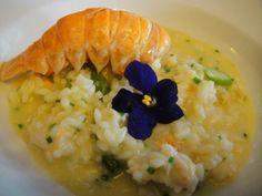 Risoto de aspargos verdes com lagostins, flambado no pastis, do La Casserole (SP)