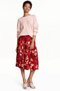 Calf-length skirt - Red/Floral - Ladies   H&M GB 1