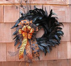 Halloween Feather Wreath by TheWrightWreath on Etsy