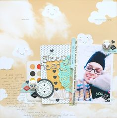 scrapbook page by shimelle laine with process video @ shimelle.com