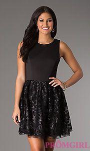 Buy Short Sleeveless Black Dress at PromGirl