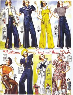 """Playsuits, 1930s on Flickr. Click image for 1400 x 1831 size. Scanned from Taschen's """"All-American Ads of the 30s""""."""