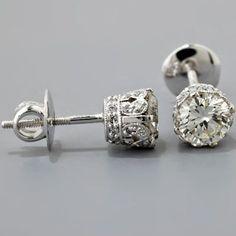 Beautiful Edwardian Crown Diamond Earrings
