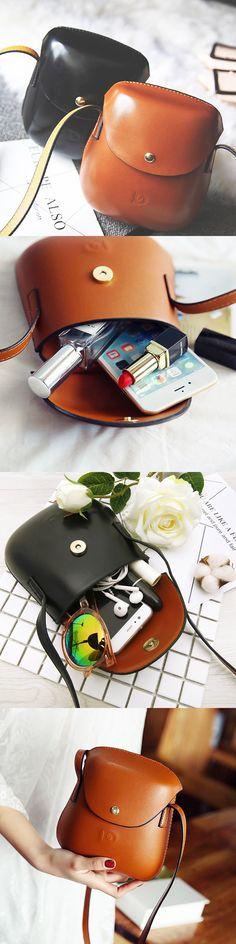 US$12.26  Women PU Leather Mini Crossbody bag Bucket Bag Phone Bag