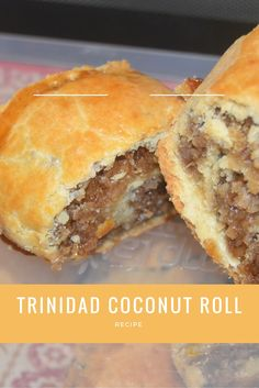 Trinidad Coconut Roll-sweet and can add meat to it! Carribean Food, Caribbean Recipes, Carribean Desserts, Coconut Roll Recipe, Trinidadian Recipes, Guyanese Recipes, Comida Boricua, Trini Food, Granola