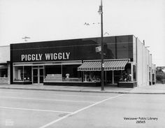Piggly Wiggly opened a location in the 3000 block of Granville in the shopfront of the Crescent Apartments. The Safeway company bought Piggly Wiggly's west coast assets in the eventually converting the stores to the Safeway brand. Grocery Ads, Grocery Store, Piggly Wiggly, The Best Is Yet To Come, Mechanical Design, Bicycle Design, History Facts, Old Pictures, British Columbia