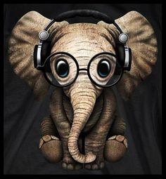 Картинка прикольная слона в наушниках, хорошим вечером