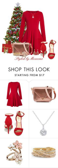 """Skater Dress in Christmas Red"" by mozeemo ❤ liked on Polyvore featuring WithChic, Alexander Wang, Qupid, EWA, Accessorize, Torrid and Luxiro"