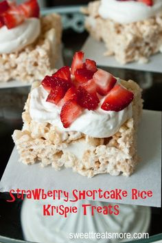 Strawberry Shortcake Rice Krispie Treats. Angel food cake mixed into the krispie treats, then topped with whipped cream and strawberries. ZOMG.