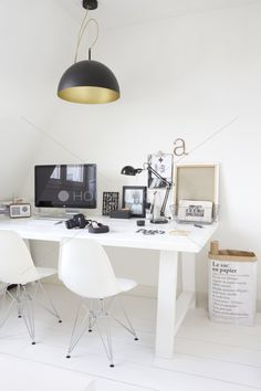 Black, white, and gold workspace