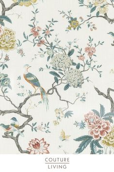 Oriental Bird is an exquisite fabric from the Signature Prints collection by GP & J Baker, featuring elegantly illustrated birds perched on Japanese flowers. Seen here in Teal. Available as curtains or blinds, made to measure by Couture Living. Bird Patterns, Textures Patterns, Print Patterns, Floral Patterns, Teal Blinds, Curtains With Blinds, Painted Feature Wall, Teal Walls, Floral Curtains
