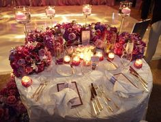 Reception Décor: Sweetheart Table | InsideWeddings.com  *MAYBE HAVE THE BOUQUETS FACING THE OTHER DIRECTION*