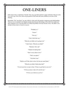 #Parenting with Love and Logic Handout on using Empathetic One Liners.
