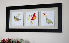 Modern bird prints  triptych set  by Bark Decor by barkdecor, $35.00