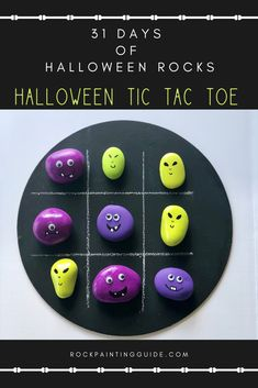 Create your own Halloween Tic Tac Toe Painted Rocks Game. This is part of Rock Painting Guide& 31 days of Halloween Rocks! Link Halloween, Halloween Rocks, Easy Halloween Crafts, 31 Days Of Halloween, Rock Painting Ideas Easy, Painting For Kids, How To Make Ghosts, Sugar Skull Painting, Rock Games