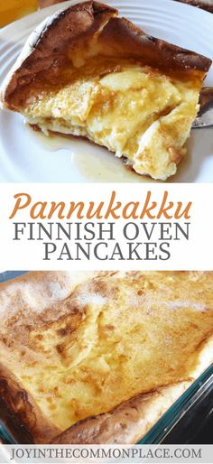 Finnish Oven Pancakes- These oven pancakes are easy to make and delicious! They are the perfect breakfast to serve to guests over the holidays. All you need to do is bake them in the oven for 40 minutes and you have a delicious breakfast food! Baked Pancakes, Pancakes Easy, Breakfast Pancakes, Finnish Pancakes, Waffles, Pancake Muffins, Delicious Breakfast Recipes, Yummy Food, Pancake Recipes