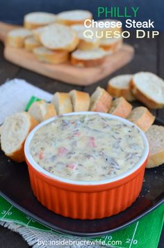 Philly Cheese Steak Queso Dip ---- the taste of a Philly Cheese Steak in a fun queso dip--from BruCrewLife