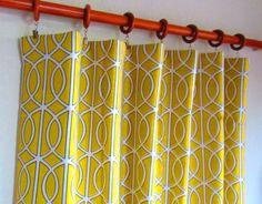 Pair of 50 x 84 Dwell Studio citrine/yellow white by LivePlush