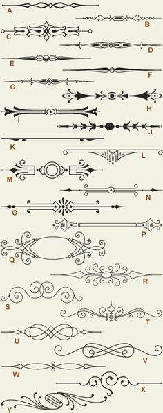 Letterhead Fonts / LHF Engraver Ornaments 1 / Old-fashioned Scrolls . - Letterhead Fonts / LHF Engraver Ornaments 1 / Old Fashioned Scrolls - Ornament Font, Letterhead, Design Elements, Stencils, Clip Art, Drawings, Flourishes, Journaling, Diy Wood
