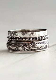 Rustic sterling silver stack rings