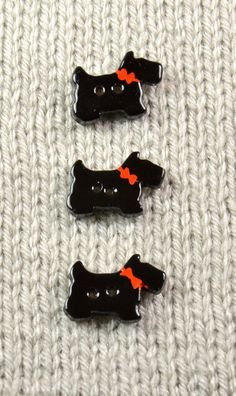 Handpainted ceramic scotty dog buttons x3 by DebraRutherford, $15.00