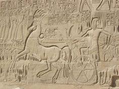 Relieve de SETI I, segundo faraón de la Dinastía XIX, representado de pie sobre un carro de combate. Templo funerario en Abydos.
