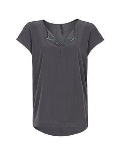 MANGO - Embellished neckline blouse in black or nude. I prefer the nude.