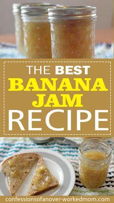How To Make Banana Jam from Overripe Bananas Banana Jelly, Banana Jam, Banana Bites, Jelly Recipes, Jam Recipes, Canning Recipes, Canning Tips, Cooker Recipes, Vegan Recipes