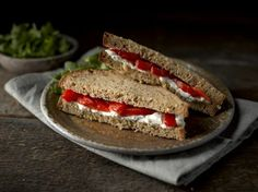 Creamy goats cheese and roasted red pepper are a classic combination. Use our gluten free seeded bread and add a chopped walnut crust for an extra special finishing touch.