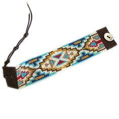 Chan Luu Beaded Turquoise Mix Seed Bead Cuff Leather Bracelet