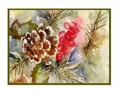 Pine Needles Braceles | Watercolor Pine Cone and Needles Greeting Note Cards Notecards Eight