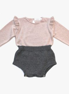 Tocoto Vintage Baby Girl Knitted Baby Body in Pink - W4015