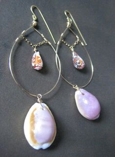 Cowrie and cone shell earrings