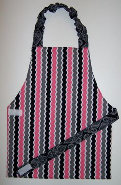 Striped apron Pink and black apron Reversible by EverSewSweet, $12.00
