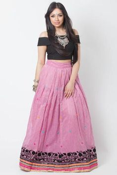 Buy pink khadi silk with blest embroidery work & resham work party wear lehenga choli online.This set is features a black blouse in silk.It has matching pink lehenga in khadi silk with beautiful embroidery all over and pink dupatta in net with lace. Pink Lehenga, Indian Outfits, Indian Clothes, Party Wear Lehenga, Lehenga Choli Online, Floral Crop Tops, Traditional Outfits, High Waisted Skirt, Fashion Outfits