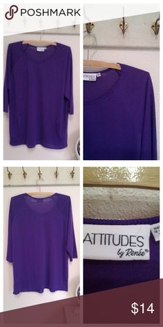 Attitudes by Renee Jersey top, purple Long sleeve Jersey knit top Boatneck  Faux pockets  Rich purple  Label:  Attitudes by Renee.   Medium. (Fits like large)  Very good condition Attitudes by Renee Tops Tunics
