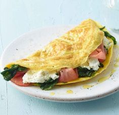 Rezept: Spinat-Ricotta-Omelett Ricotta, Omelette, Sandwiches, Protein, Tacos, Eggs, Keto, Ethnic Recipes, Food